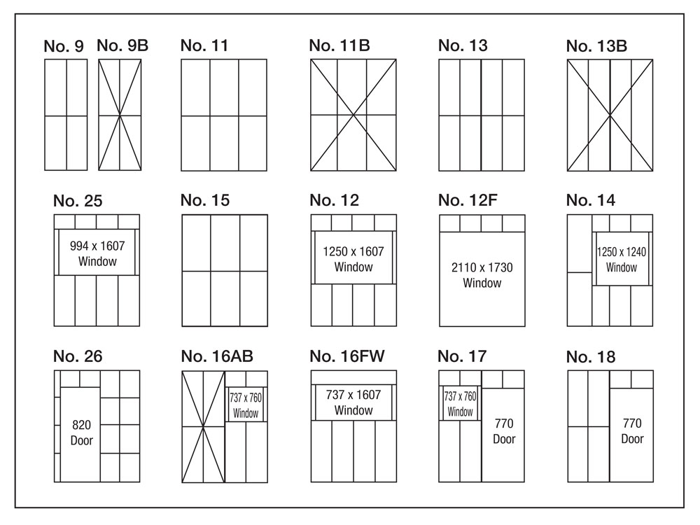 Steel frame panel list for owner builder