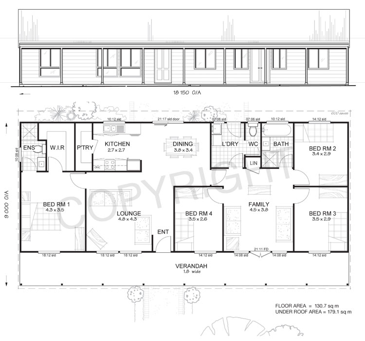 Earlwood 4 met kit homes 4 bedroom steel frame kit Metal house floor plans