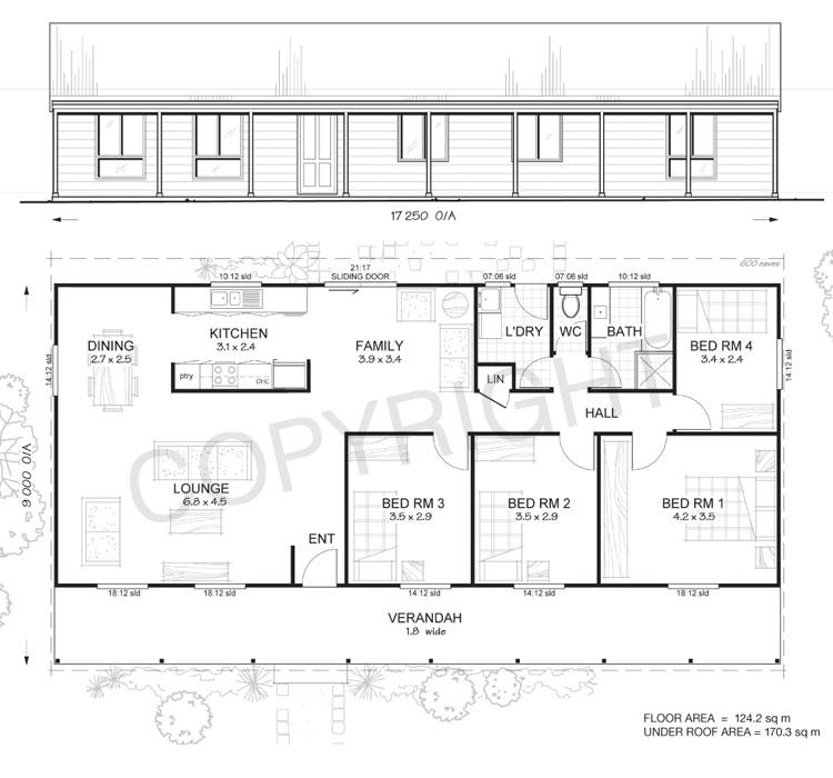 Flinders 4 - Met-Kit Homes - 4 Bedroom Steel Frame Kit Home Floor ...