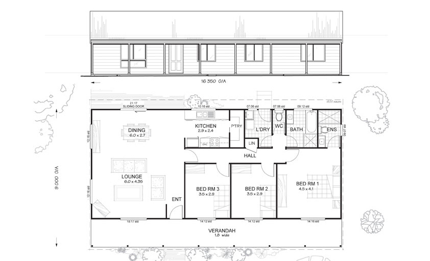 Argyle 3 - Met-Kit Homes - 3 Bedroom Steel Frame Kit Home Floor Plan ...