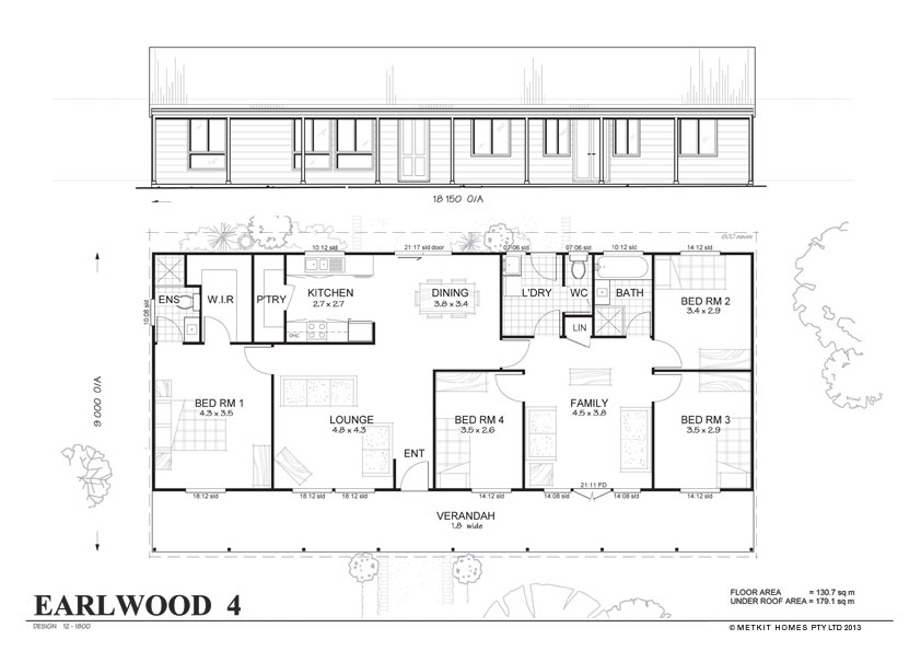 Earlwood 4 met kit homes 4 bedroom steel frame kit for Steel frame home plans