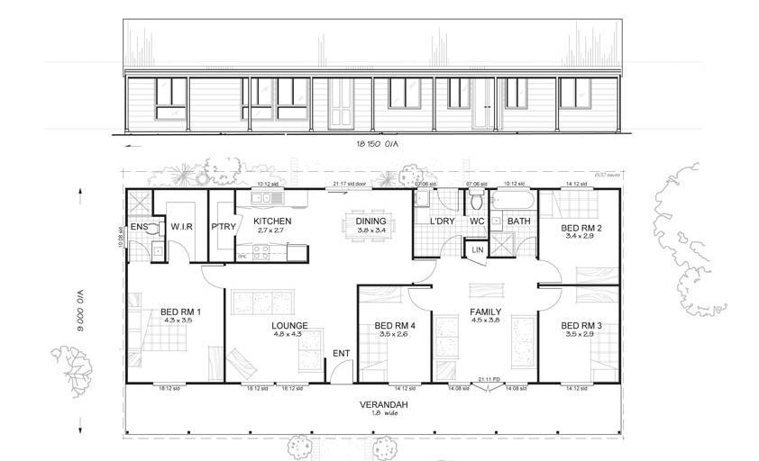 Earlwood 4 met kit homes 4 bedroom steel frame kit for Steel frame home floor plans