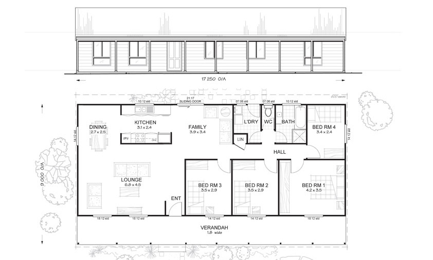 Flinders 4 - Met-Kit Homes - 4 Bedroom Steel Frame Kit Home Floor ...