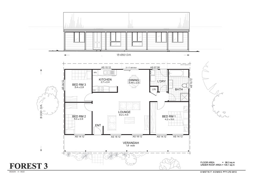 Forest 3 met kit homes 3 bedroom steel frame kit home House plan kits