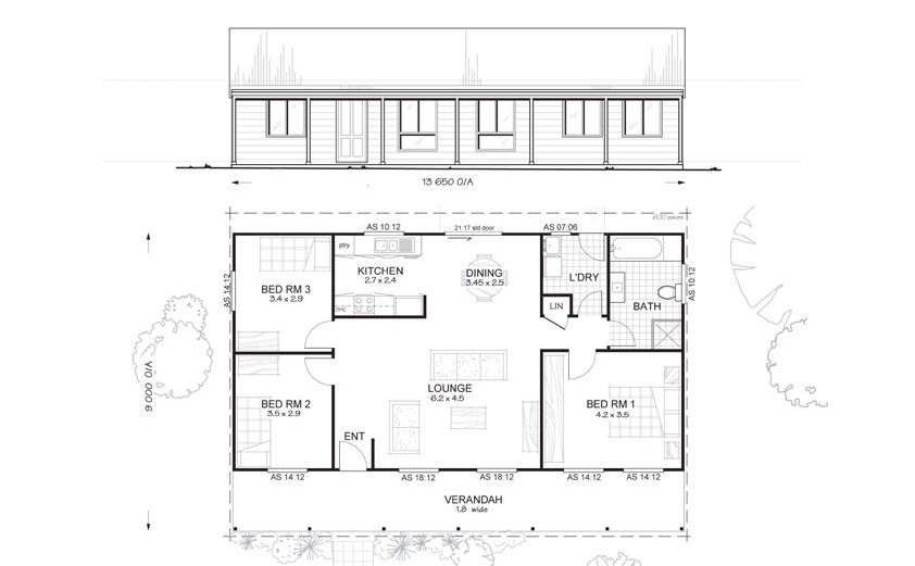 Forest 3 - Met-Kit Homes - 3 Bedroom Steel Frame Kit Home Floor Plan ...