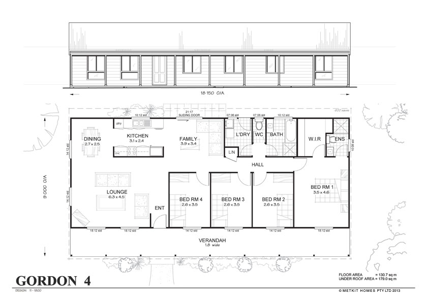Gordon 4 met kit homes 4 bedroom steel frame kit home for Steel frame home plans