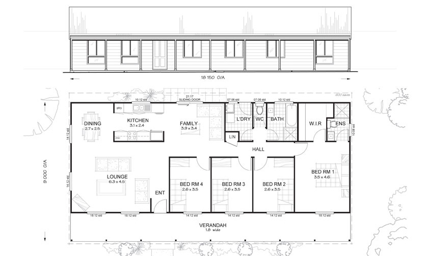 Gordon 4 - Met-Kit Homes - 4 Bedroom Steel Frame Kit Home Floor Plan ...