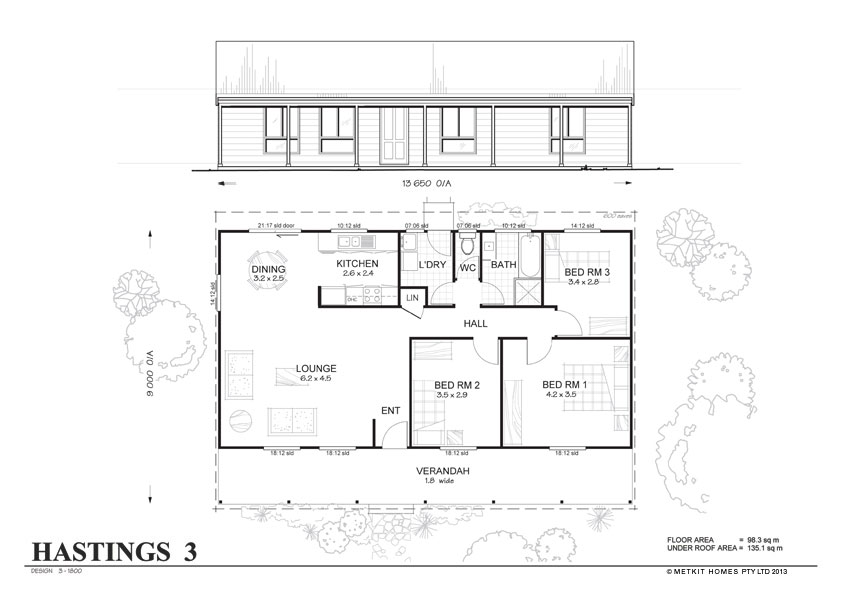 Hastings 3 Met Kit Homes 3 Bedroom Steel Frame Kit