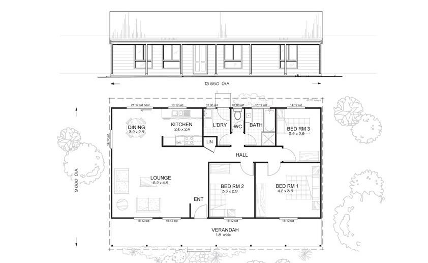 Hastings 3 met kit homes 3 bedroom steel frame kit for Metal frame homes floor plans