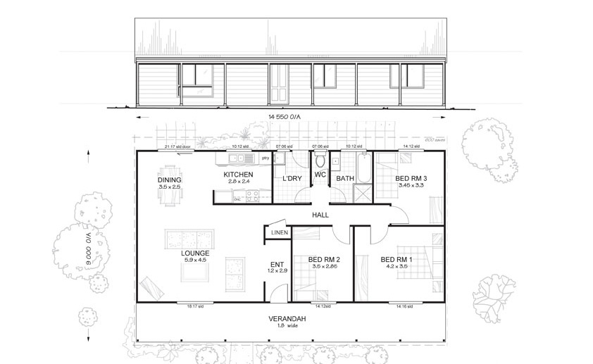 Hunter 3 - Met-Kit Homes - 3 Bedroom Steel Frame Kit Home Floor Plan ...