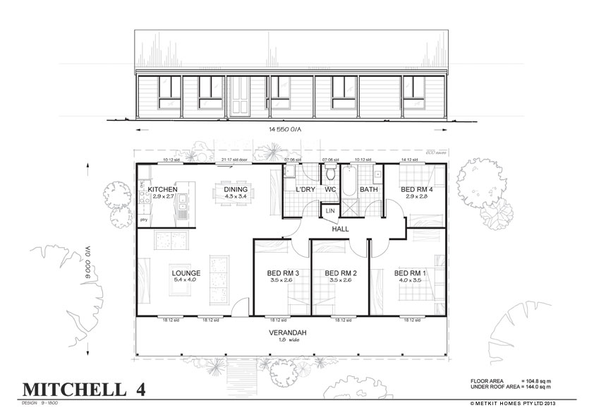 Mitchell 4 met kit homes 4 bedroom steel frame kit Metal frame home plans