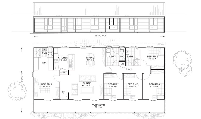 Sandford 5 met kit homes 5 bedroom steel frame kit for House floor plans australia