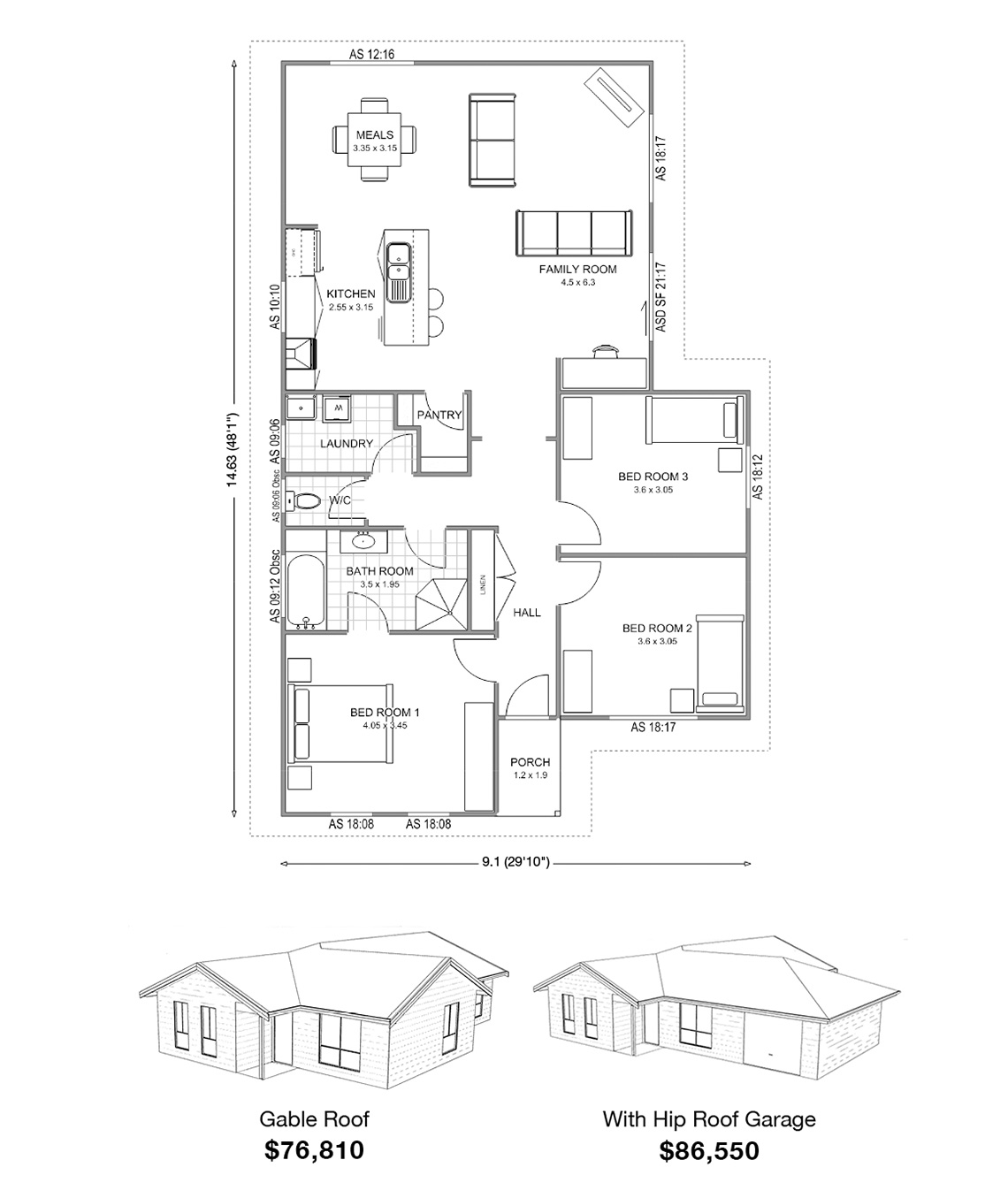 Met-Kit Homes floor plans - Jamieson 3 - Affordable, budget steel frame Kit Homes Australia Wide